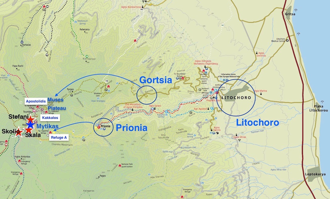 Mount Olympus Prionia Gortsia Map
