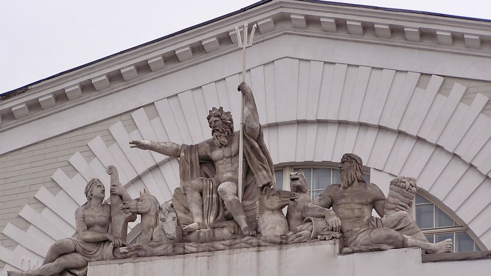 Neptune Statue Old Stock Exchange Building spit of Vasilyevsky Island