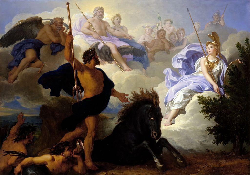 Greek Mythology Paintings Athena and Neptune