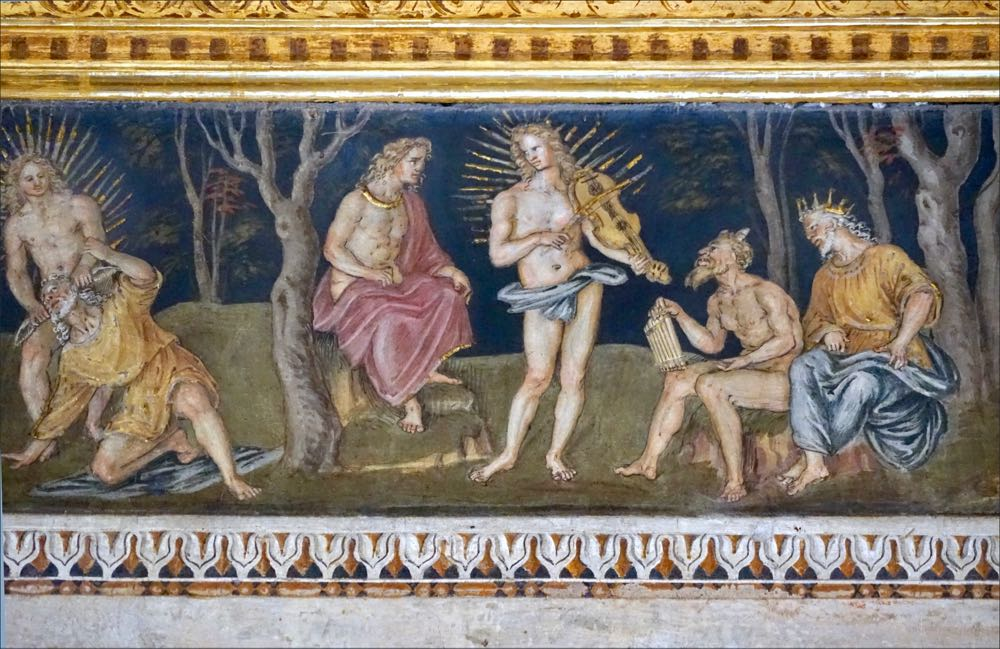 Musical Contest Pan and Apollo Painting Italy