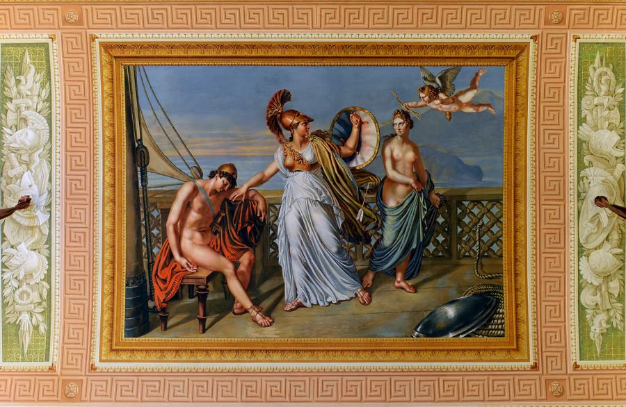 Painting Fresco Athena defends Paris from Cupid