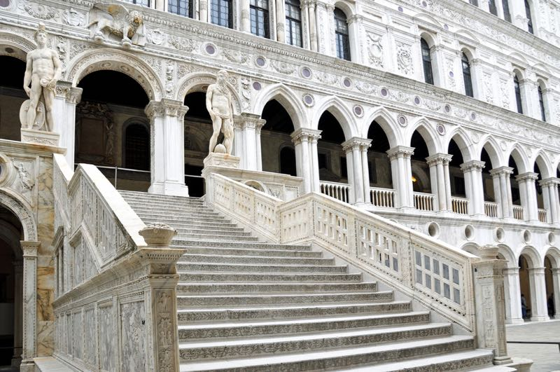 Statues of Neptune and Mars on Staircase Doge's Palace Venice