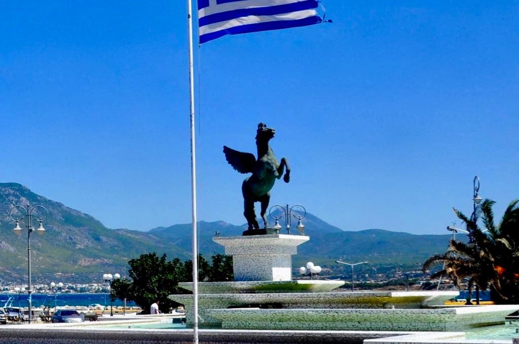 Pegasus Square in New Corinth Greece