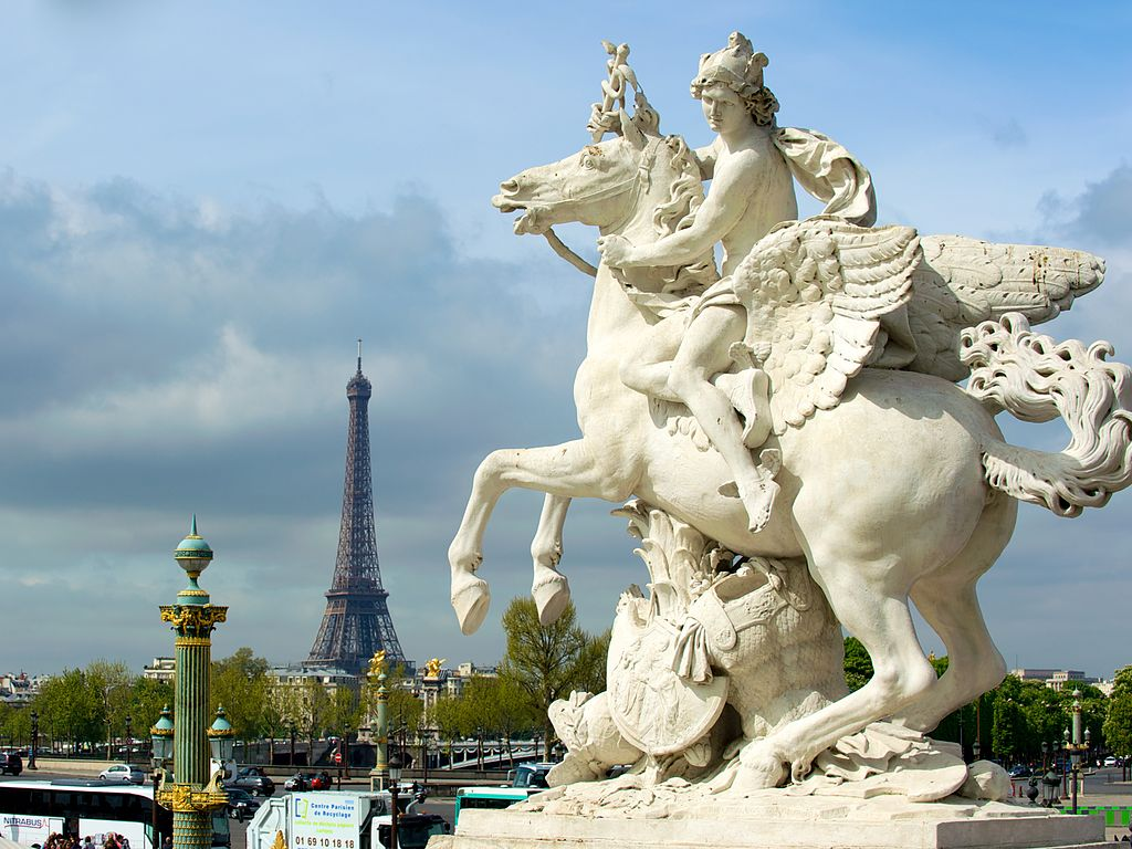 Greek Mythology Statues Mercury Riding Pegasus in Paris