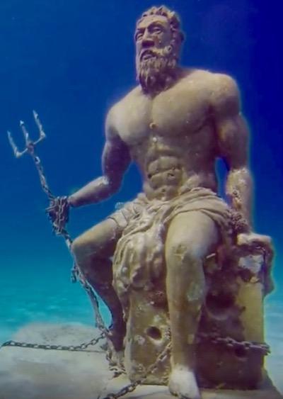 Statue of Greek God Underwater