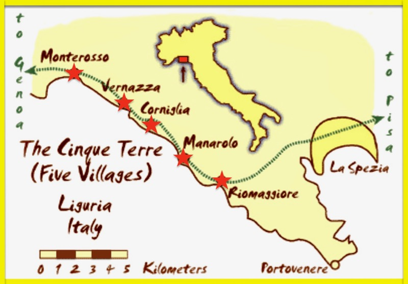 Map of Cinque Terre in Italy