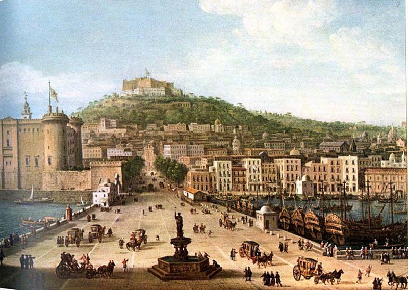 Napoli molo del porto con fontana del Nettuno