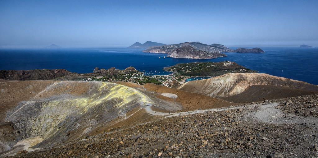 Aeolian Islands seen from volcano Vulcano