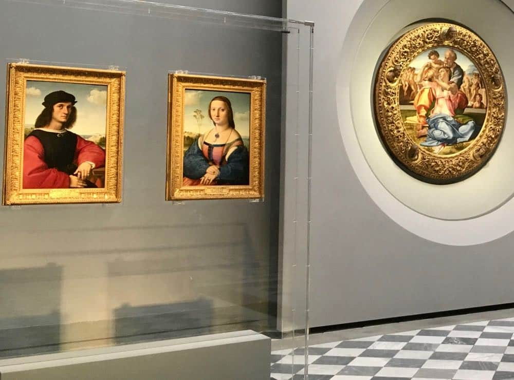 Paintings with Greek mythology portraits on back Uffizi Gallery