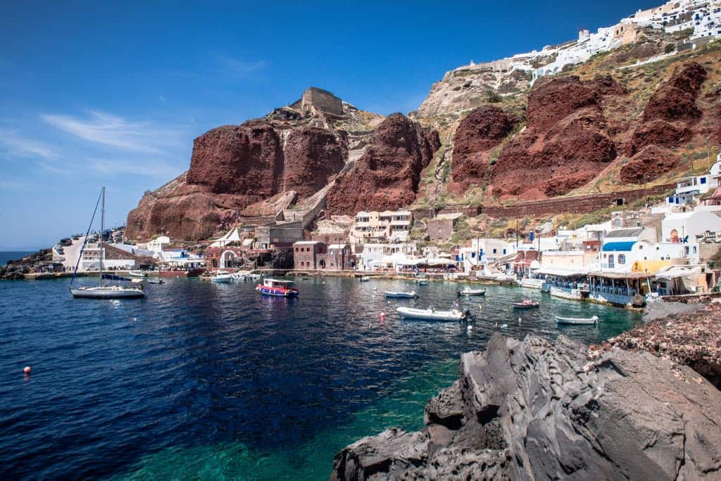 Best Hidden Gems in Greece Amoudi Bay-Santorini