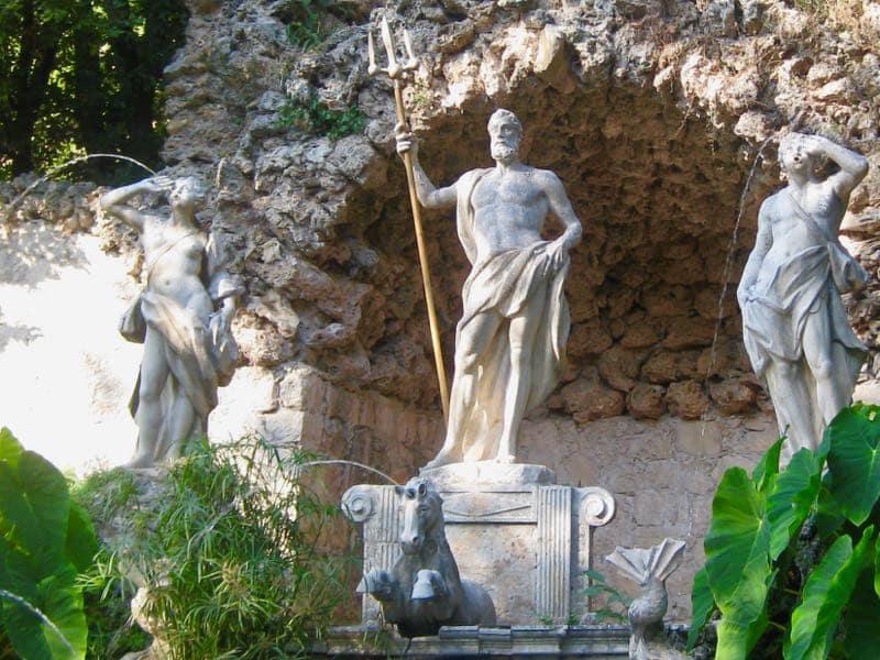 Neptune Poseidon Fountain Trsteno Croatia