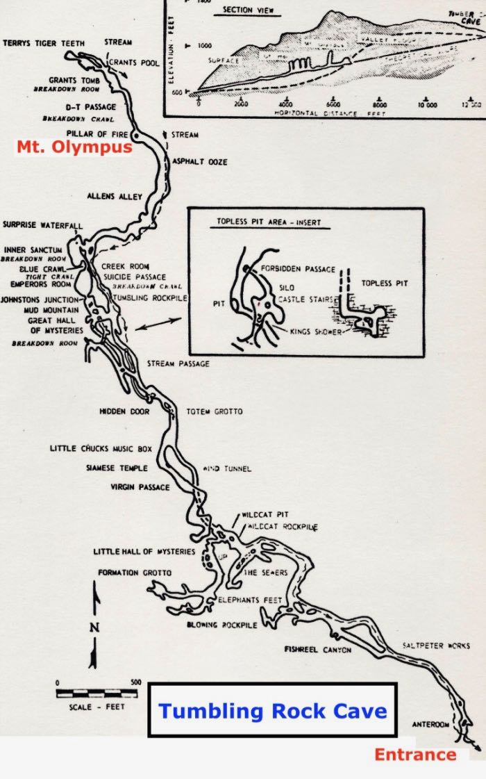 Mt Olympus Tumbling Rock Cave Map