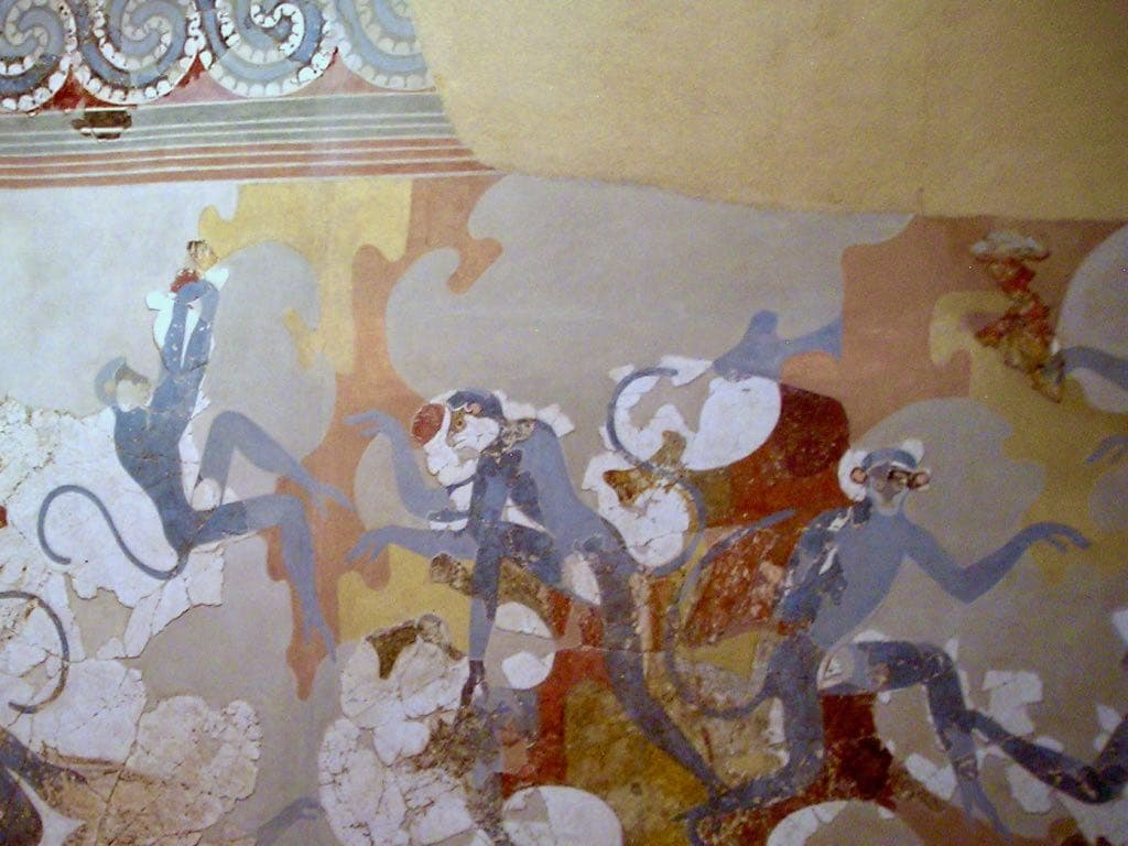 Blue Monkeys Wall Mural Akrotiri Fira Museum