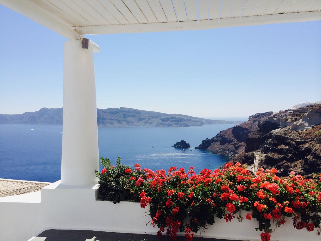 Great View Isle of Saint Nicholas Amoudi bay Oia Santorini Greece