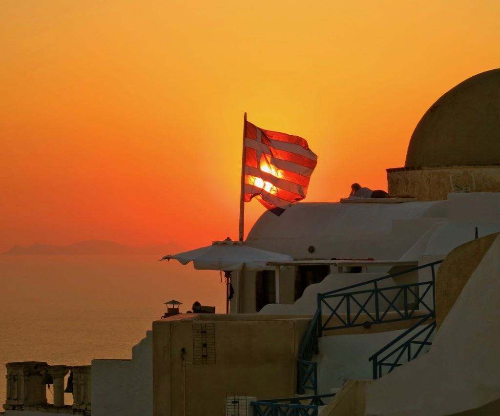 Magnificent sunset in Santorini