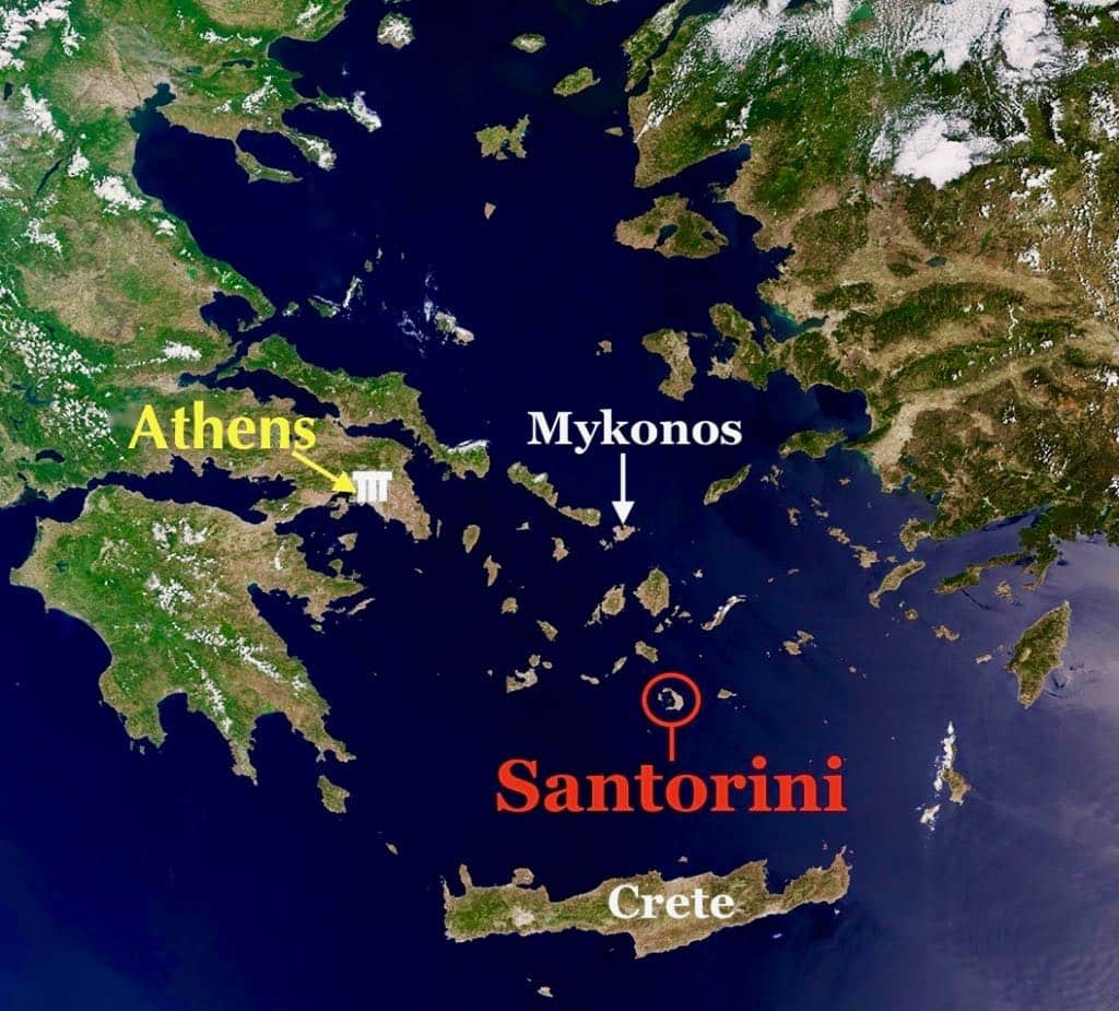Map of Santorini Greek Islands