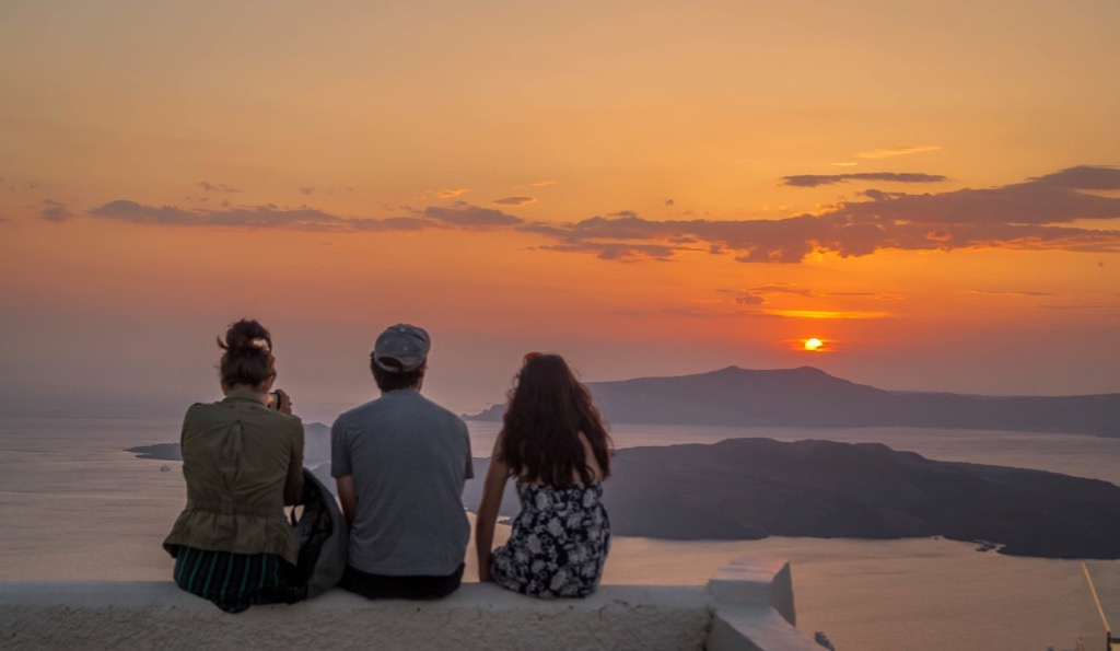 Sunset in Santorini Caldera View