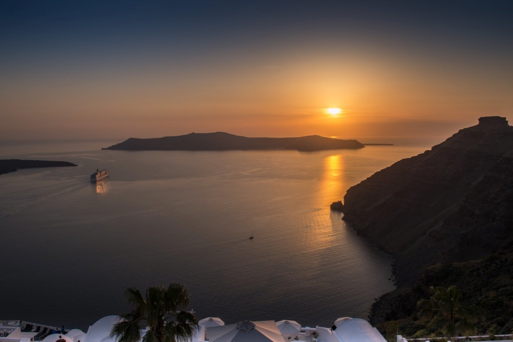 Sunset in Santorini's famous Caldera