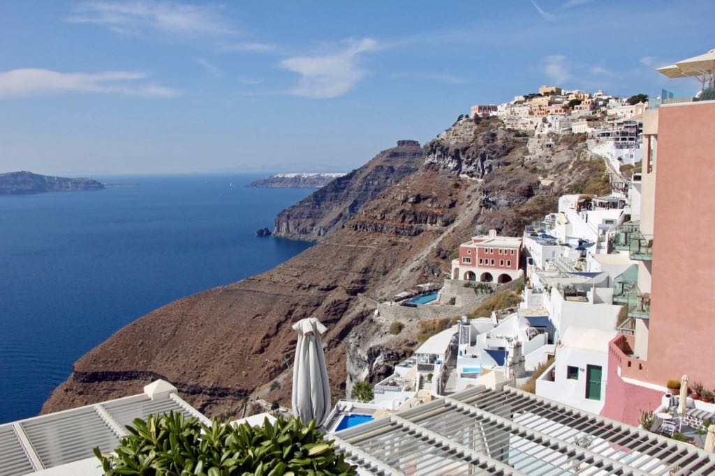 Village of Fira Santorini village Oia at the back