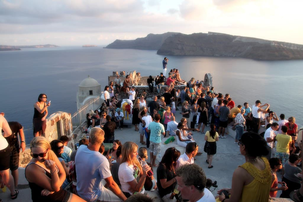Waiting for the sunset in Santorini