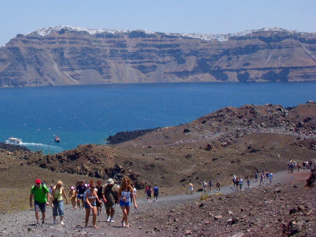 Walking up to the Volcano in Nea Kameni Santorini