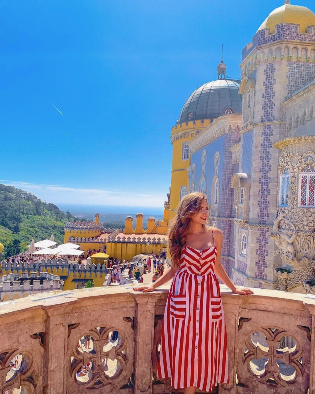 Beautiful woman at Pena Palace in Sintra