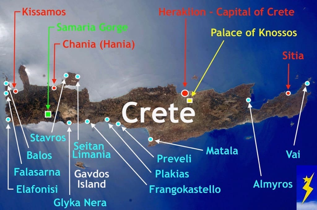 Map of Crete Top Beach Locations