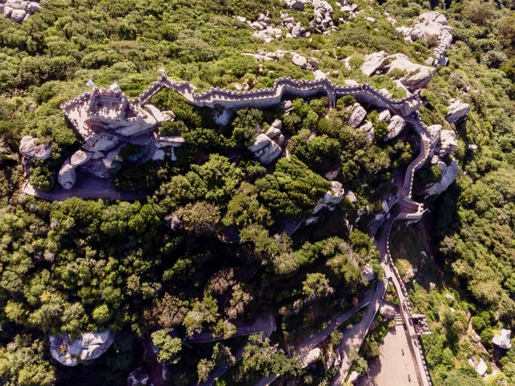 View of Castle of the Moors in Sintra from the sky