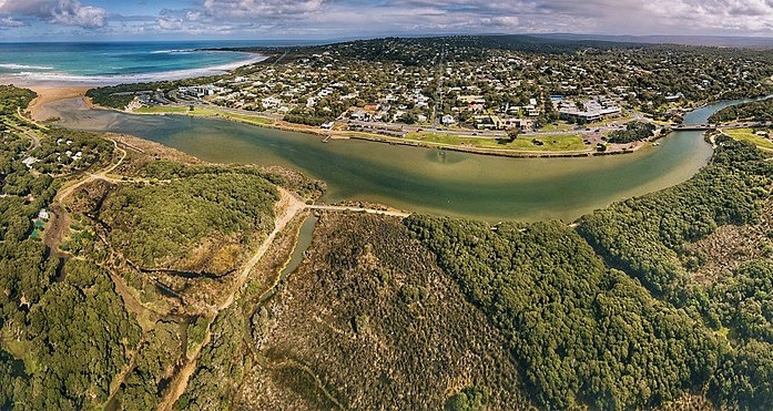 Aerial view township of Anglesea Victoria