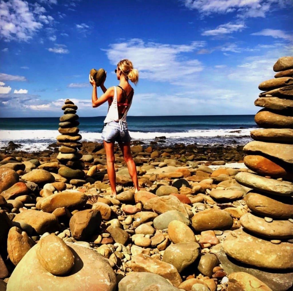 Rock stacking at Carisbrook Creek Great Ocean Road