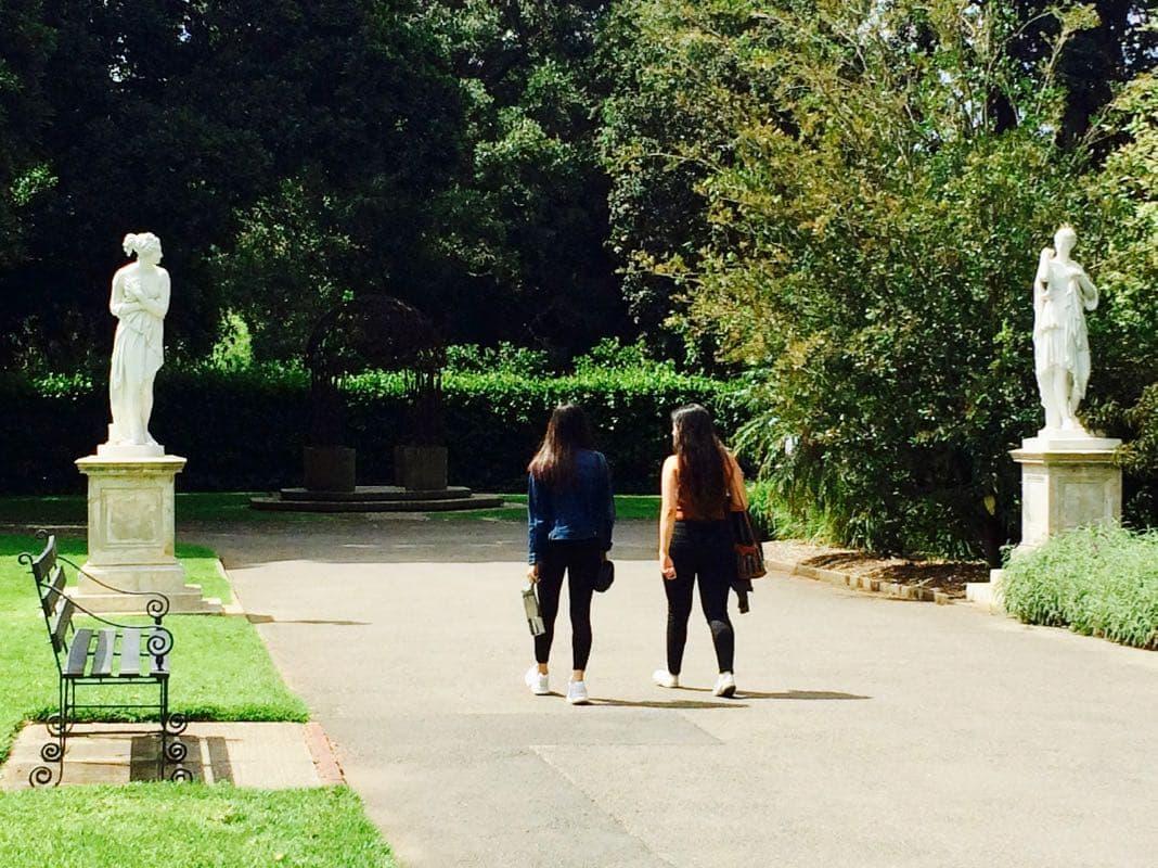 Adelaide Botanic Gardens Entrance between Goddess statues