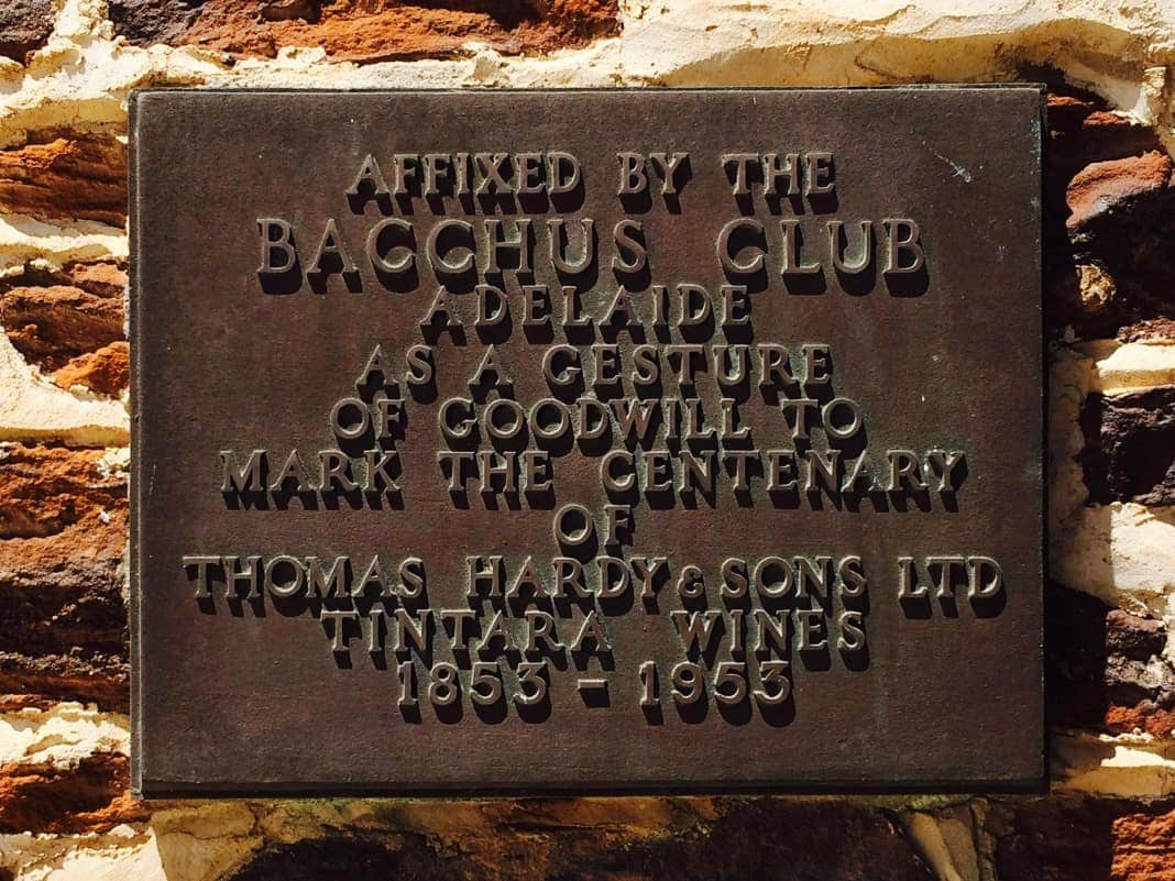 Bacchus Club Plaque Tintara Wines Thomas Hardy and Sons