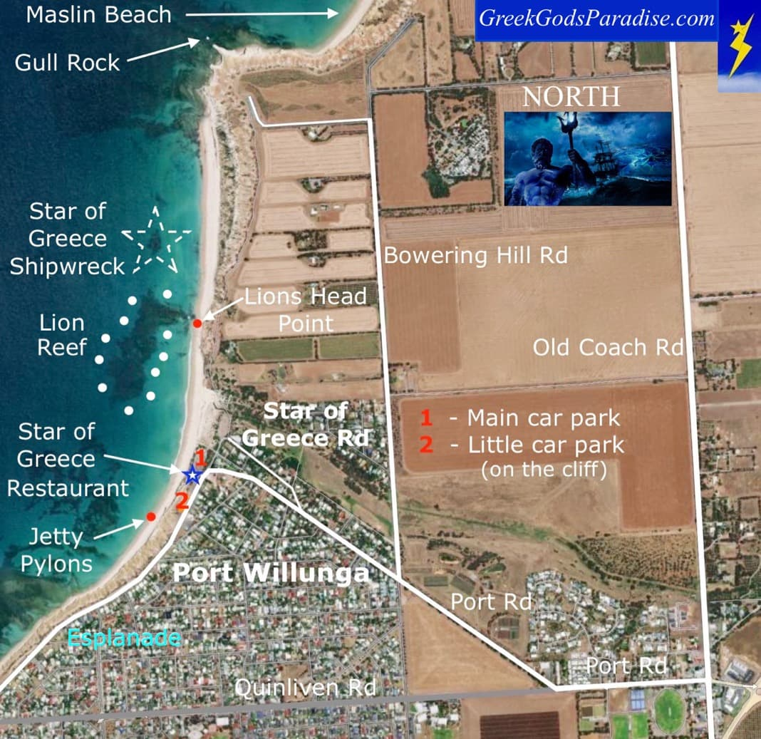 Map Star of Greece Shipwreck Port Willunga Beach