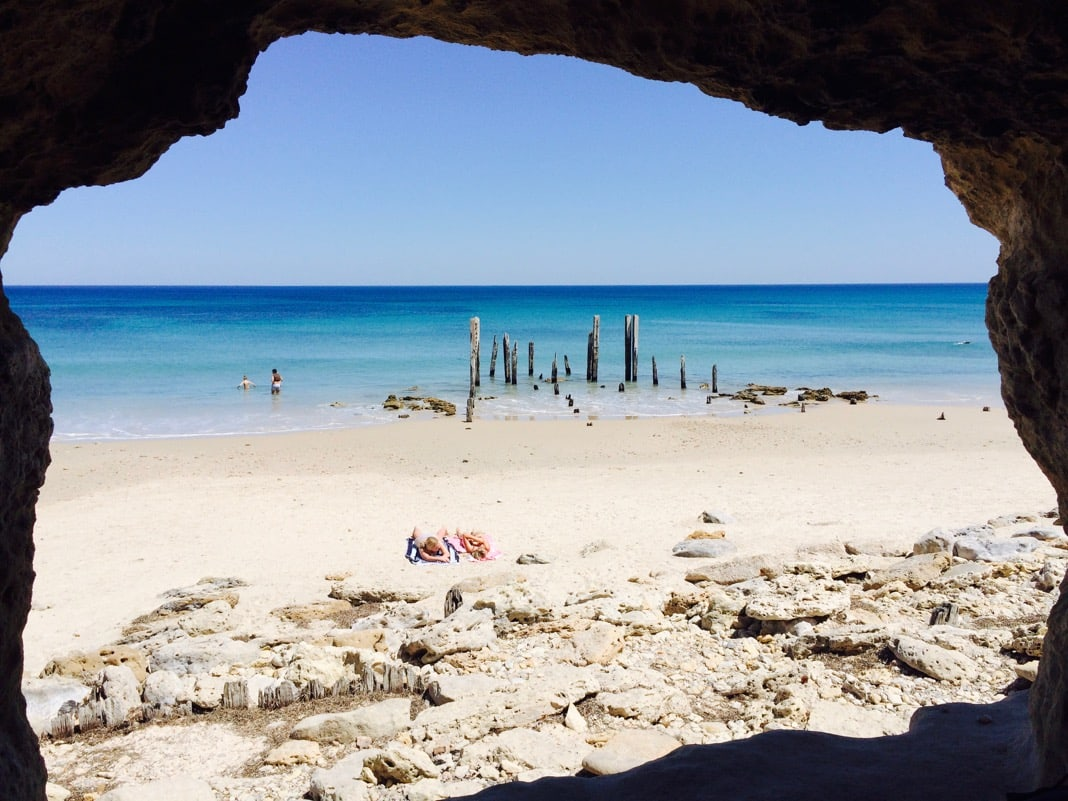 Port Willunga Beach Cave and Jetty Pylons