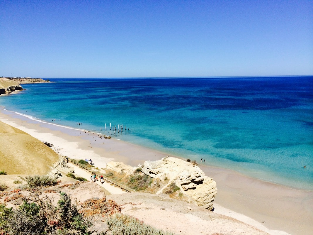 View of Port Willunga Beach from the cliffs