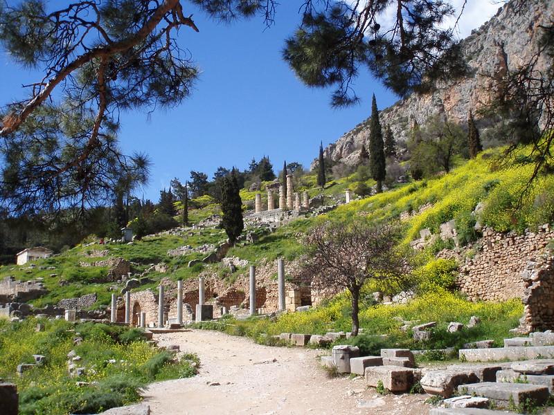 Delphi Temple of Apollo and ancient Roman sarcophagi site