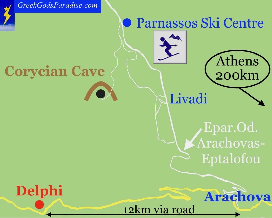 How to get to Corycian Cave near Delphi Map