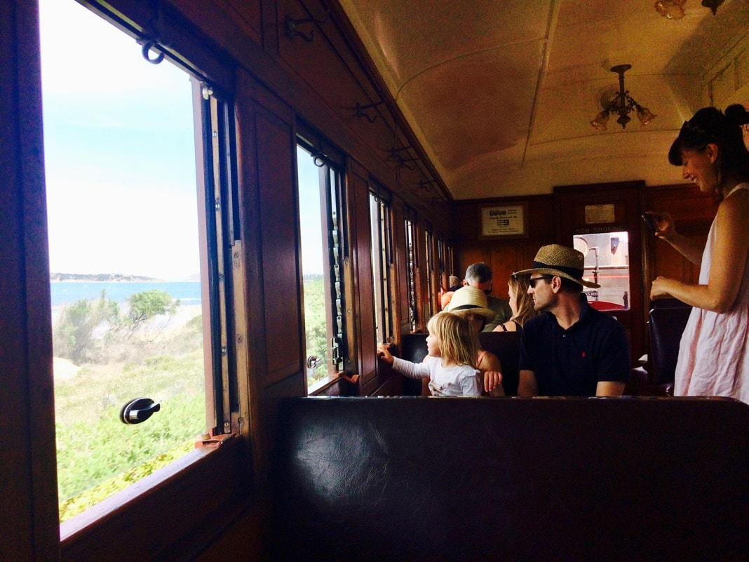 Inside Cockle train on the way to Victor Harbor