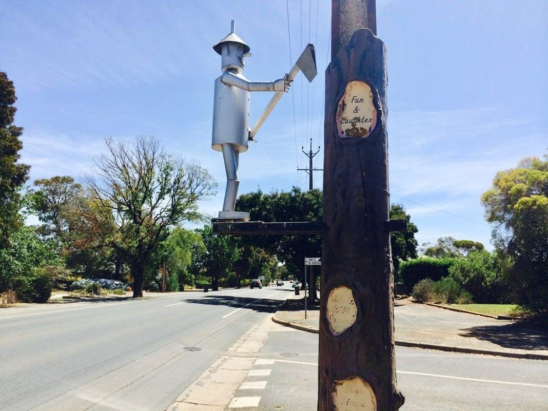 Tin Man Light Pole Tanunda Barossa Valley Guide