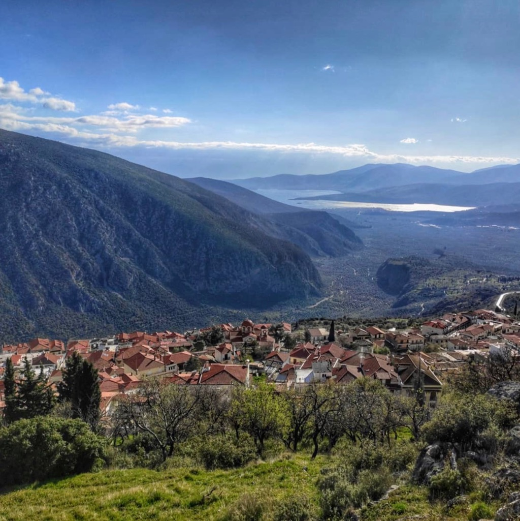 View over Delphi Town rooftops to the Corinthian Gulf near Kirra village