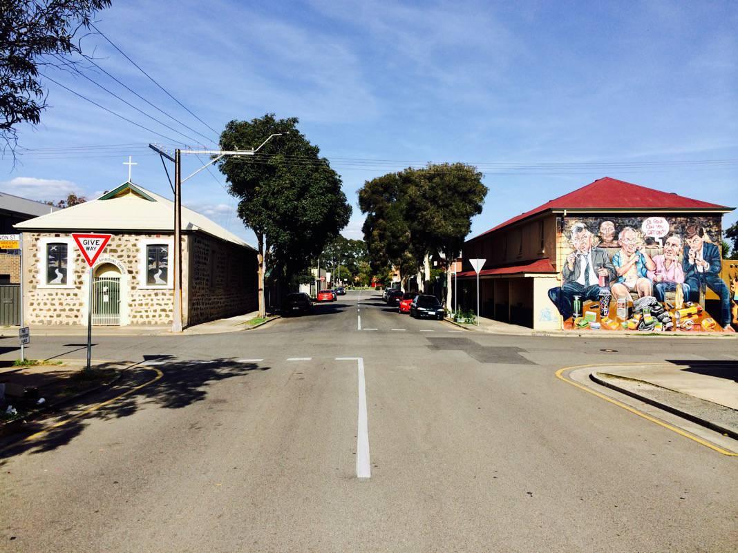 Burning Rock Mural Ship Street Port Adelaide