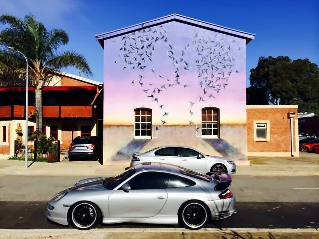 Mural in Port Adelaide Love Birds