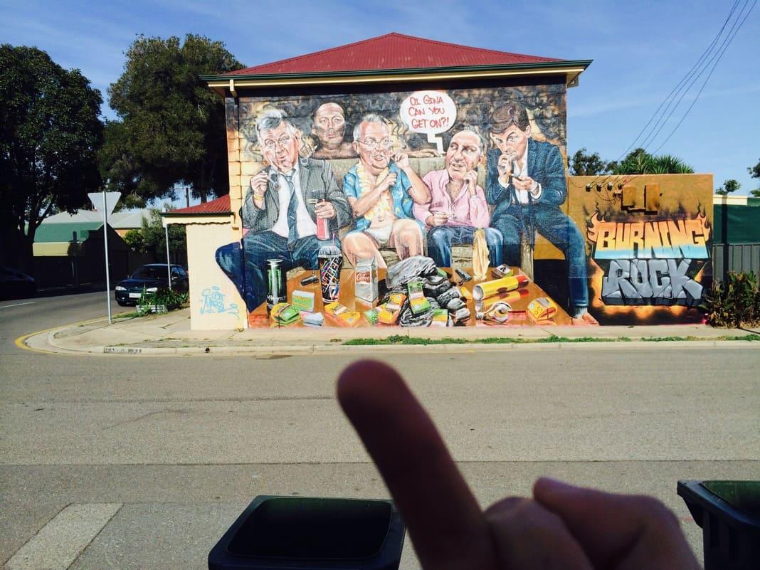 The Burning Rock mural Scott Morrison 13 Ship Street Port Adelaide