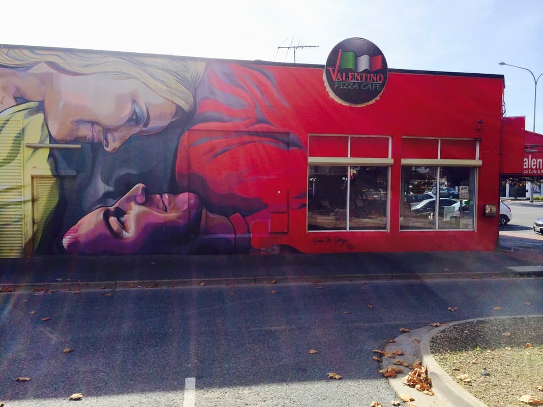 Vans the Omega Mural Valentino's Pizza Cafe Port Adelaide Railway Station Commercial Road