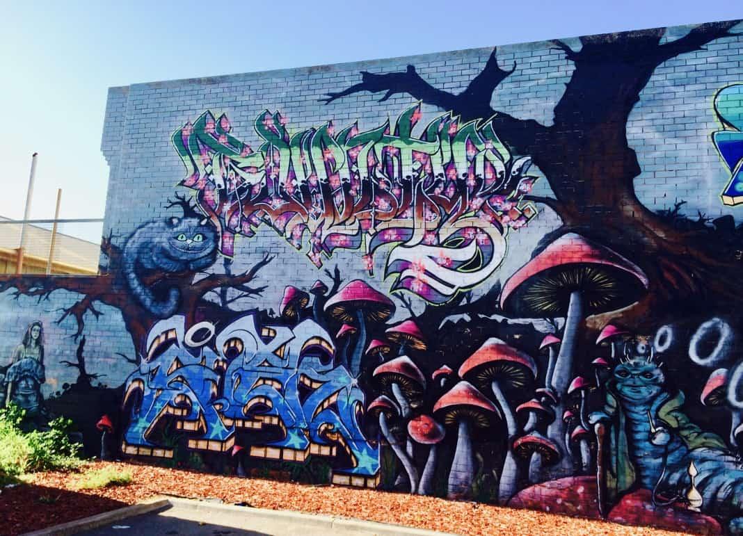 Wonderwall Street Art Port Adelaide Alice in Wonderland