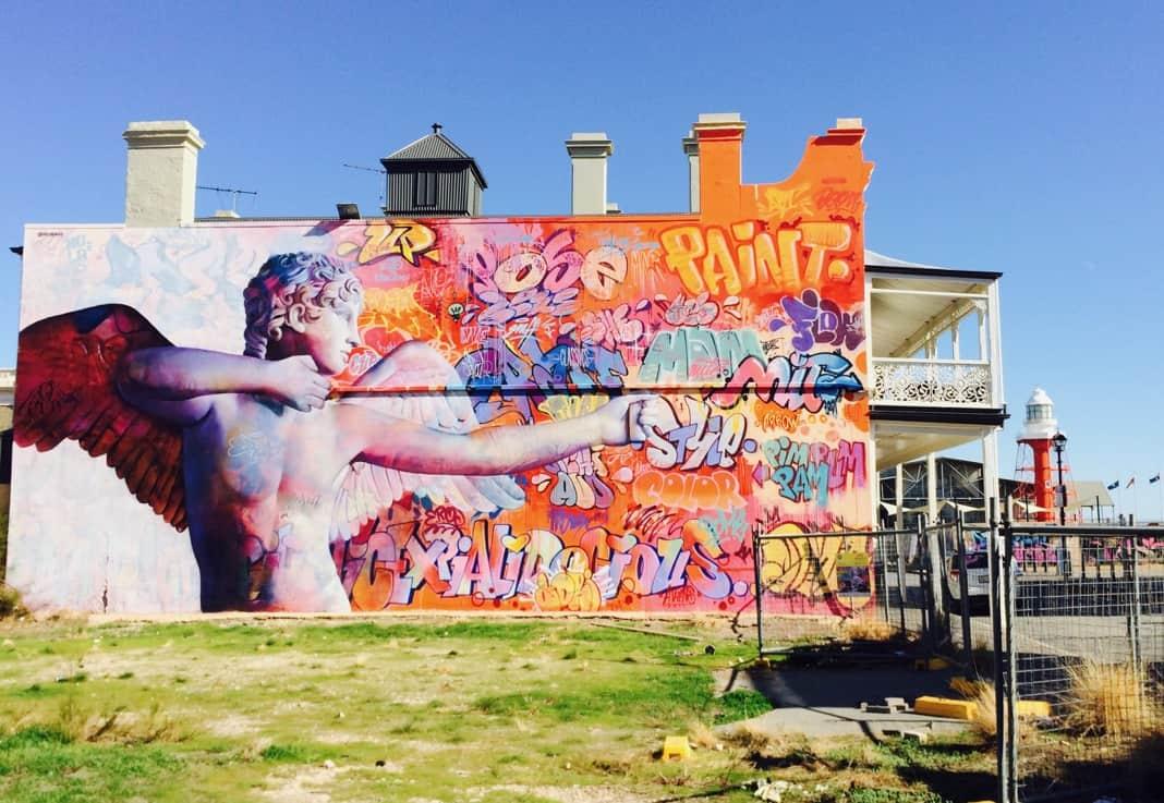 Wonderwall Street Art Port Adelaide Cupid Mural Eros
