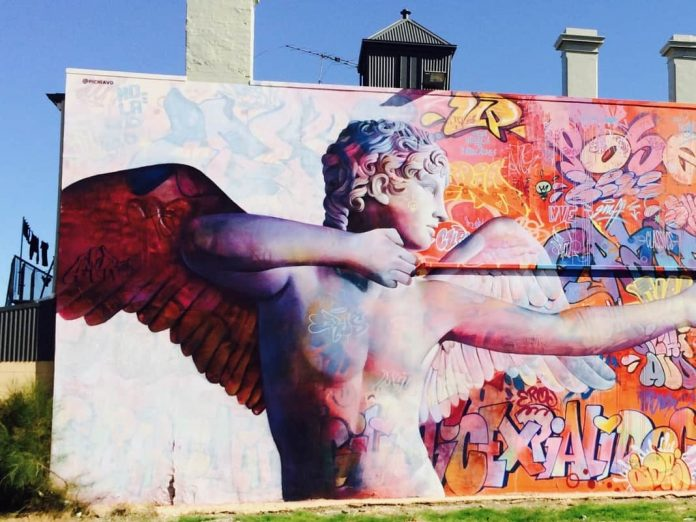 Wonderwall Street Art in Port Adelaide Cupid Mural