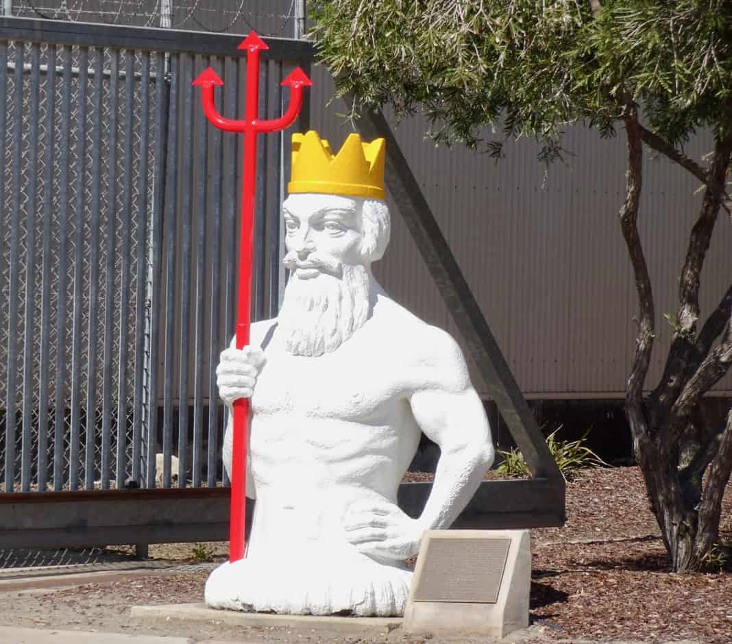 King Neptune statue at Bitumen Plant Birkenhead