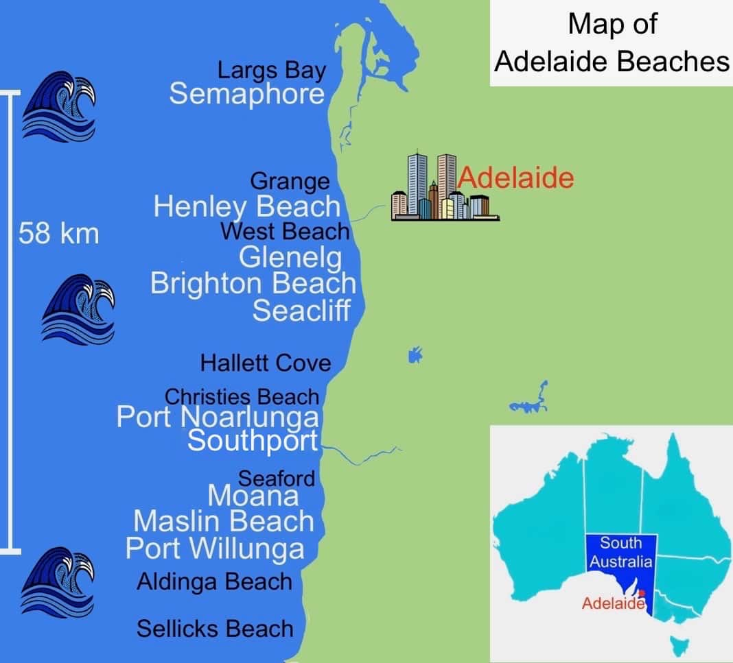 Map of Adelaide Beaches