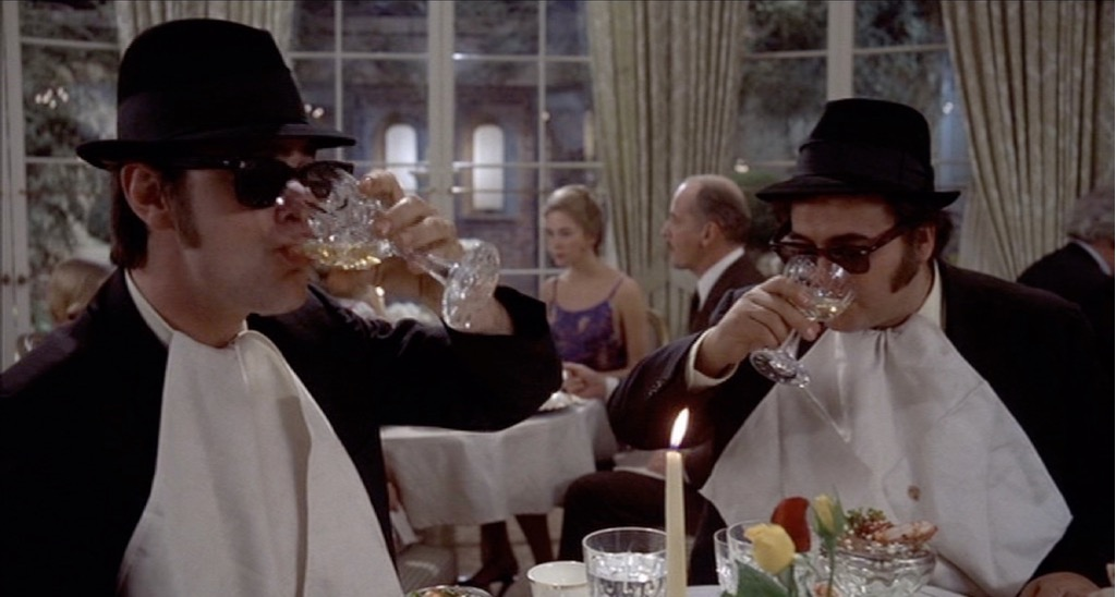 The Blues Brothers Wine Drinking Scene in Restaurant